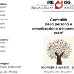 """Convegno giovedì 2 marzo 2017 """"Centralità della persona e umanizzazione del percorso di cura"""" Dr Luciano D'auria"""